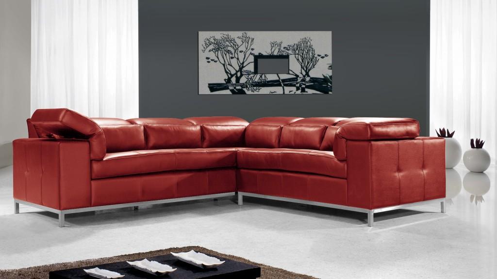 Canapé angle design Melton cuir rouge