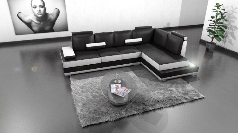 Canapé d'angle cuir Low