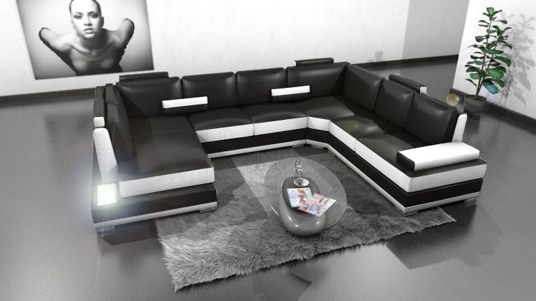 canapé panoramique d'angle cuir