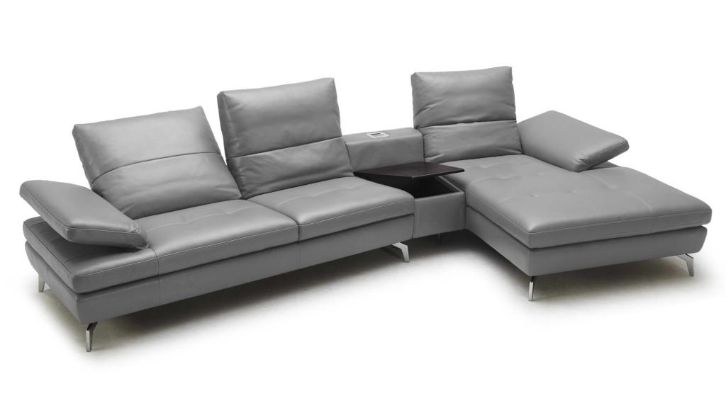 Canapé angle cuir gris Pyo