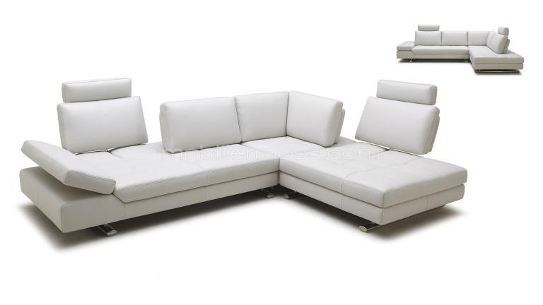 Canapé angle design cuir blanc Minho