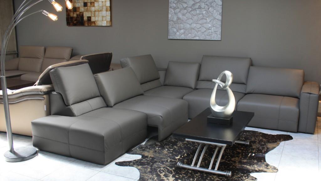 Vaena XL, canapé cuir relax avec dossier coulissant