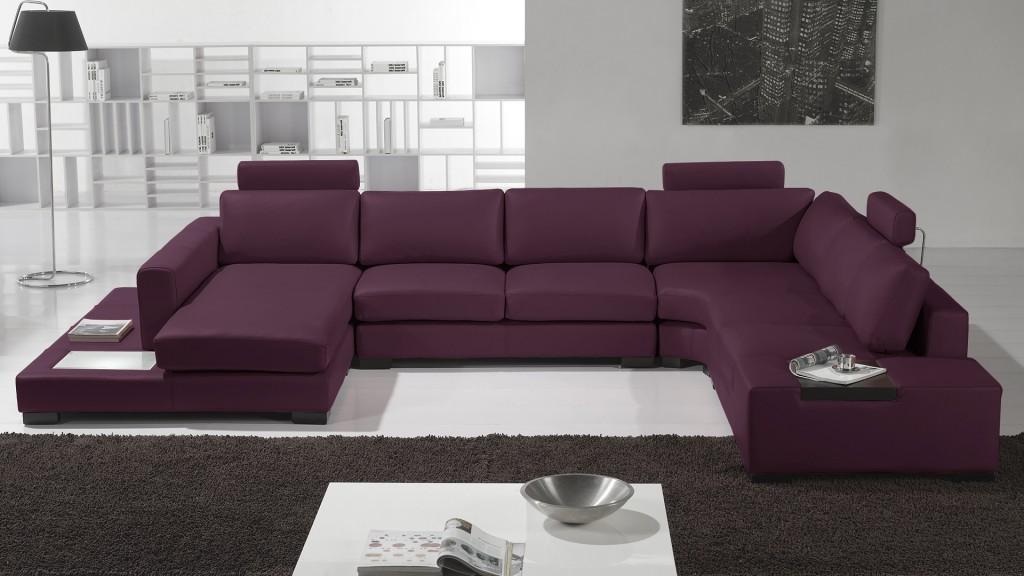 canapé panoramique cuir violet