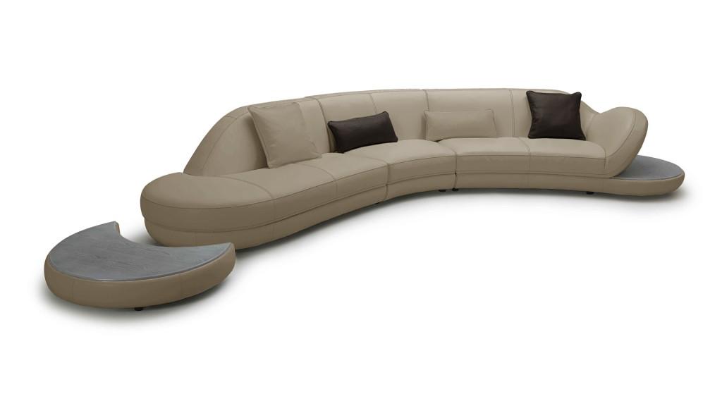 nassjo, canapé contamporain cuir avec tablette