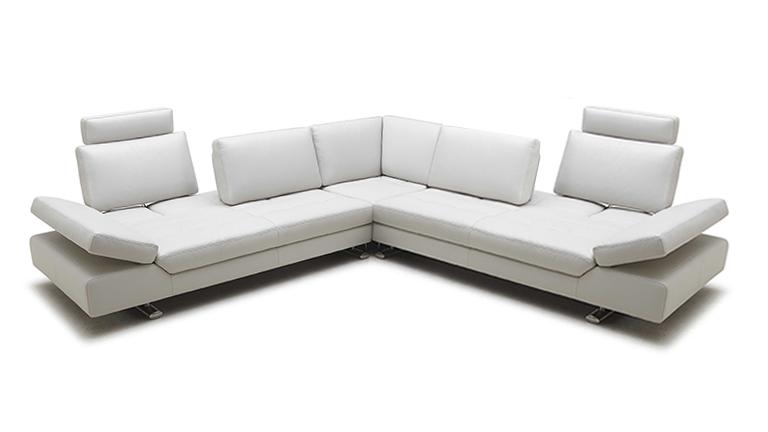Canapé cuir angle blanc Minho