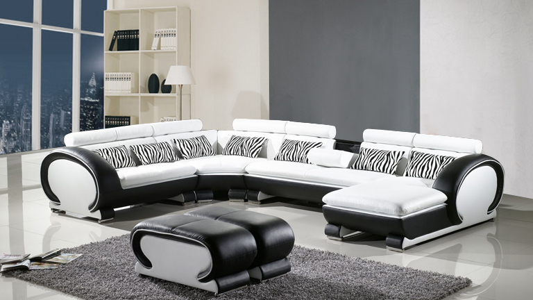 Canapé angle panoramique bicolore